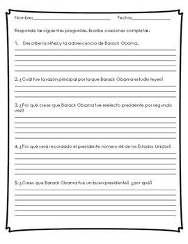 Reading Comprehension in Spanish- President's Day in Spanish-Barack Obama