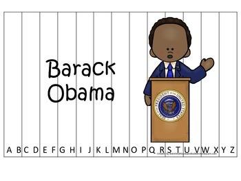 Barack Obama themed Alphabet Sequence Puzzle preschool printable activity.