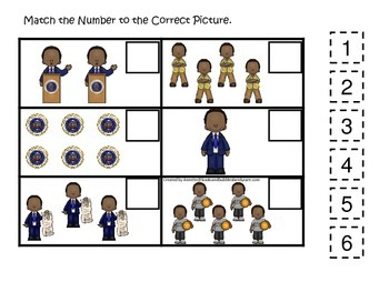 Barack Obama themed Match the Number preschool printable learning activity.