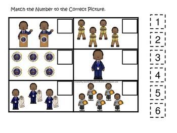 Barack Obama themed Match the Number preschool printable l