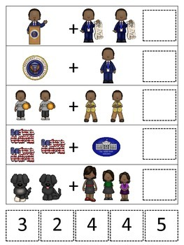 Barack Obama themed Math Addition preschool printable math activity.
