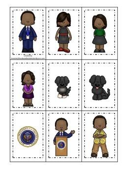 Barack Obama themed Memory Matching preschool printable learning activity.