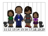 Barack Obama themed Number Sequence Puzzle 11-20 preschool printable activity.