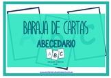 Baraja de cartas: abecedario (English, black and white)