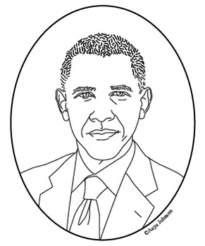 Barack Obama (44th President) Clip Art, Coloring Page or Mini Poster