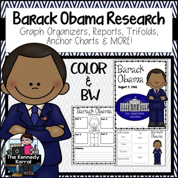 Barak Obama 2 Biography Research Bundle {Report, Trifold,
