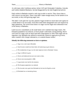 Barbados History Fact/Opinion Worksheet
