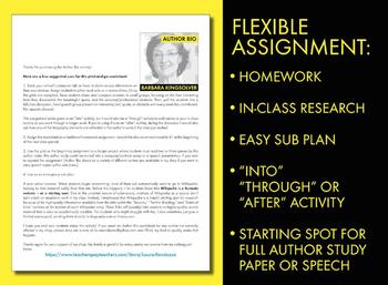 Barbara Kingsolver Author Study Worksheet, Easy Biography Activity, CCSS