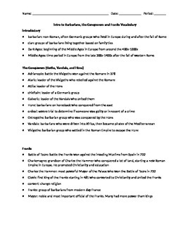 Barbarians Vocabulary Reference Sheet- The Conquerors and the Franks