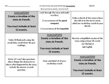 French Reading: BarbeBleue (Bluebeard) Tic-Tac-Toe Activity