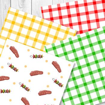 Barbecue Digital Papers   Summer, Grilling, BBQ, Hot Dog, Hamburger, Food