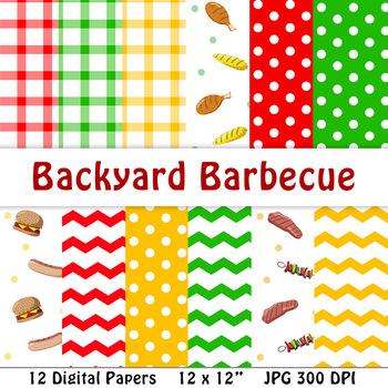 Barbecue Digital Papers | Summer, Grilling, BBQ, Hot Dog, Hamburger, Food