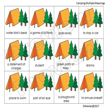 Camping Speech Therapy Multiple Meanings