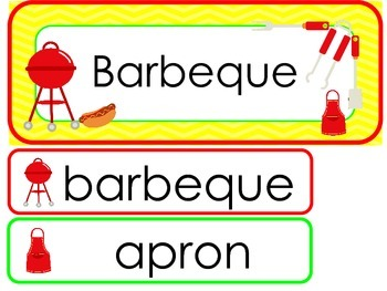 Barbeque Word Wall Weekly Theme Posters.