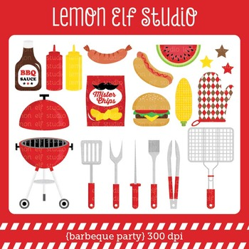 Barbeque Party-Digital Clipart (LES.CL39A)