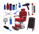 Barber Clipart - Hair Cut Salon Digital Graphics
