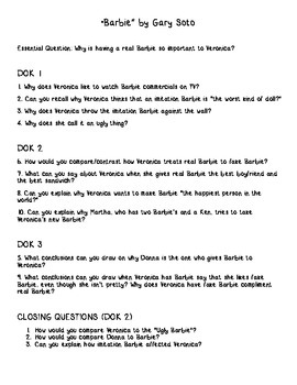 Barbie by Gary Soto: Depth of Knowledge (DOK) Questions