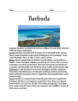 Barbuda - Island information facts lesson review - destroyed by Hurricane Irma