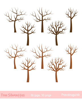 Bare trees clipart, No leaves tree clip art, Winter tree, Family tree silhouette