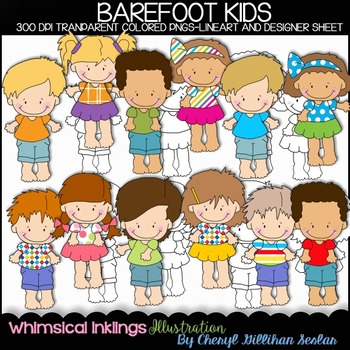 Barefoot Kids Clipart Collection