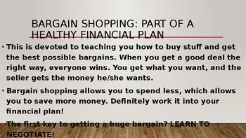 Bargain Shopping PPT