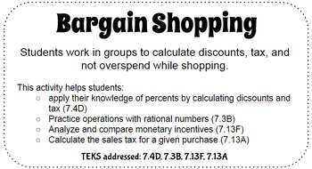 Bargain Shopping: Percent, Discount, Sales Tax
