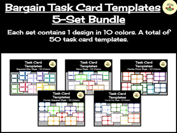 Bargain Task Card Templates Bundle - Includes 50 Templates