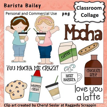 Barista Bailey Clip Art personal & commercial use C Seslar