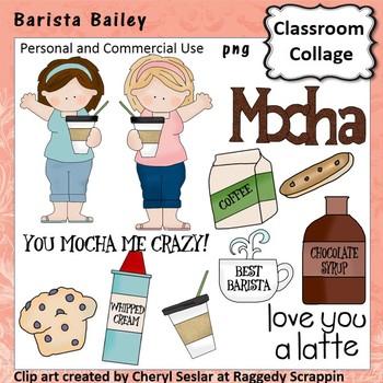 Barista Bailey Clip Art personal & commercial use C Seslar