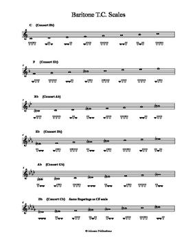 Baritone Treble Clef Major Scales with Fingerings
