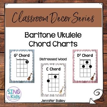 graphic about Ukulele Chords Printable named Baritone Ukulele Chords: Distressed Picket