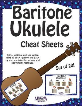 Baritone Ukulele Color-Coded Cheat Sheets