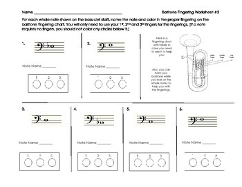Baritone/Euphonium Fingering Worksheet 2 for Band Beginners