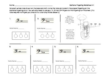Baritone/Euphonium Fingering Worksheet for Band Beginners