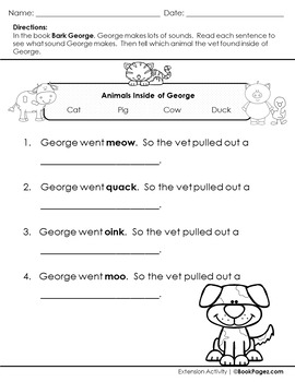 Bark, George Lesson Plans & Activities Package, First Grade (CCSS)