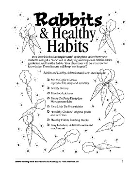 Barker Creek - Rabbits and Healthy Habits Activity E-Book