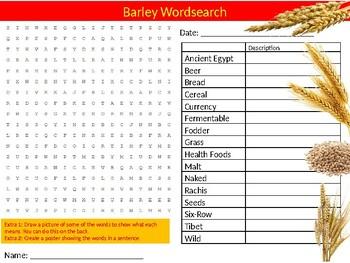 Barley Wordsearch Sheet Starter Activity Keywords Cover Food Technology