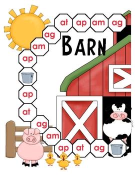 Barn Bash Ag, Am, At, Ap Word Family File Folder Game