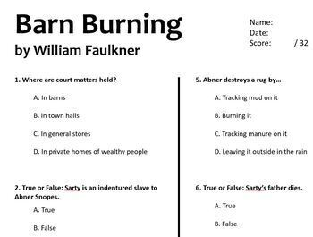Barn Burning Test William Faulkner Quiz No Prep ELA