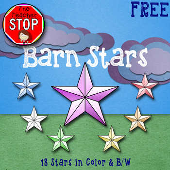 Barn Stars - 18 Clipart Images Total {The Teacher Stop} FREE