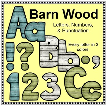 Barn Wood Alphabet and Numbers - Clip Art