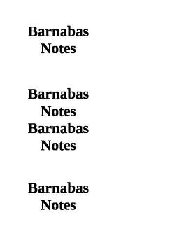 Barnabas Notes