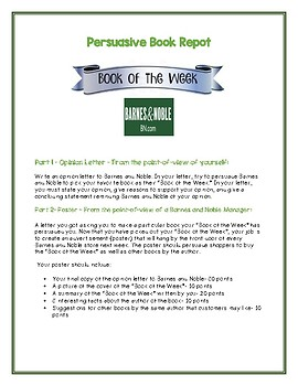 Barnes & Noble Book of the Week- Persuasive Book Report