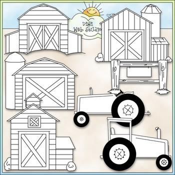 Barns and Tractors Clip Art - Farm Clip Art - CU Clip Art & B&W