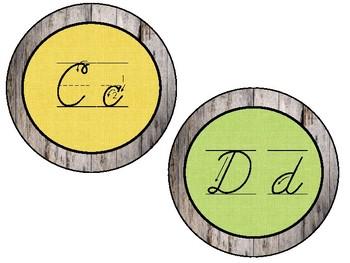 Barnwood and Burlap Cursive Letters Display