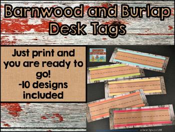 Barnwood and Burlap Desk Tags