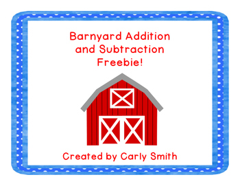 Barnyard Addition and Subtraction Freebie