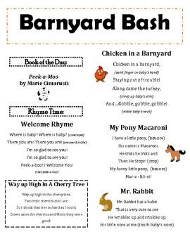 """""""Barnyard Bash"""" Infant & Toddler Lapsit Rhymes & Songs"""
