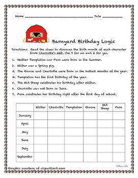 Charlotte's Barnyard Birthdays Logic Puzzle