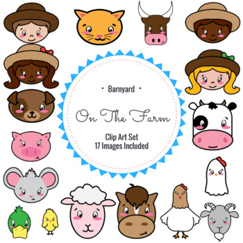Barnyard Farm Clip Art Set of 17 Images